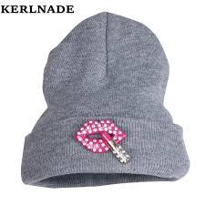 Beanie Custom Design New Fashion Brand Winter Hat For Women Men Custom Design Rhinestone Lips Style Casual Beanies Knitted Beauty Gorro Skully In Skullies Beanies From