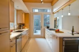 kitchen rustic galley kitchen remodel with fir cabinets glass door and triple hanging lamps