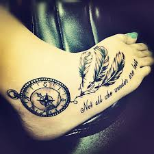Dream Catcher Tattoo Foot Stunning Dream Catcher Not All Those Who Wander Are Lost Compass Foot Tattoo