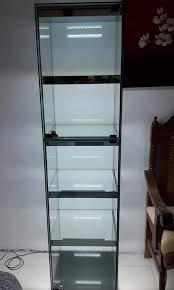 5 layers frameless glass cabinet