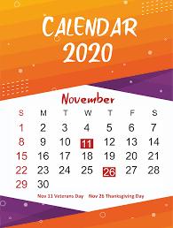 November 2020 Calendar Printables Pdf Free November 2020 Printable Calendar Template In Pdf Word