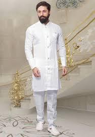 Half White Kurta Design Linen Kurta In White This Full Sleeve Attire Is Designed