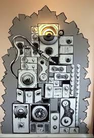 speakers artwork. speaker stack mural in residential unit original artwork by alex mckell speakers