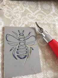 Easy Lino Print Designs Lino Print First Attempt Linocut Prints Bee Design