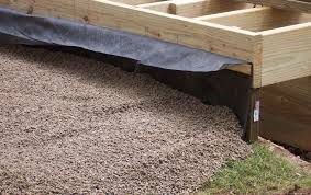 how to build a raised stone patio fabric against deck