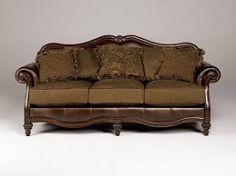 wood trim chenille faux leather sofa