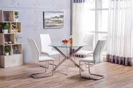 venice chrome round glass dining table and 4 white lorenzo dining chairs set