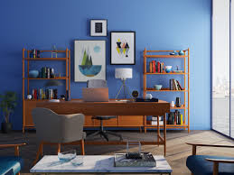 Office room design gallery Ceo Corner Home Office Space With Navy Blue Wall Pinterest 17 Surprising Home Office Ideas Real Simple