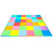 Amazoncom ProSource Kids Foam Puzzle Floor Play Mat with Solid
