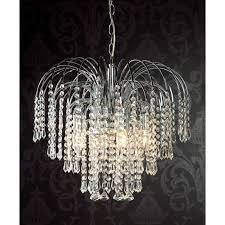 chandelier 20inch 50cm 4 light glass crystal diamond drop waterfall chrome