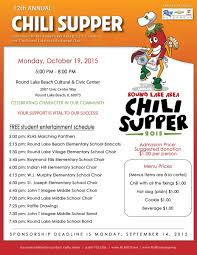 chili supper flyer 12th annual chili supper monday october 19 round lake middle school