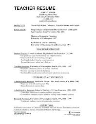 Chemistry Teacher Resume Sample
