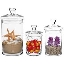 Decorative Jars With Lids Amazon Set of 60 Clear Glass Kitchen Bath Storage Canisters 16