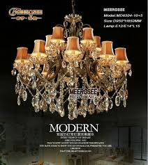 big crystal chandelier light fixture antique brass large suspension res chandelier lamp with lampshade md8504 l15