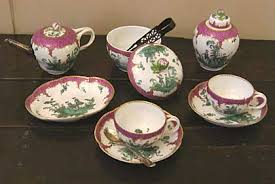 pot of the week mrs thrale s meissen teapot from dr  a photo of a tea set two cups and saucers teapot sugar bowl