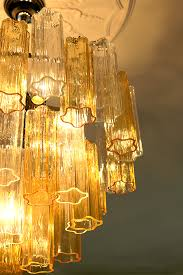 murano glass chandelier in amber and transpa glass