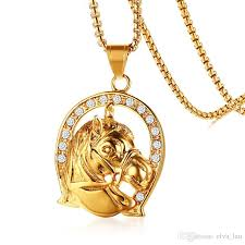 whole mens hip hop jewelry stainless steel pendant necklace animal horse head shape color circle pendant necklaces for men free chain 24 pendant