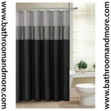 black shower curtains. Black And Gray Fabric Shower Curtain With Metallic Silver Accent Stripe Curtains