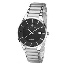 accurist watches men s ladies accurist watches h samuel accurist men s stainless steel black dial bracelet watch product number 2399873