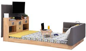 Bed With Tv Built In This Bed With Built In Subwoofer Tv Lamp And Power Outlets May