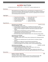 Account Manager Resume Summary Account Manager Marketing Emphasis