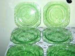 home improvement green glass plates with cup holder depression plate handles