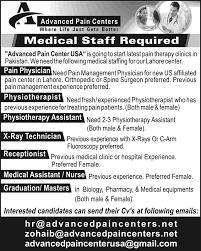 Advanced Pain Center Pakistan Jobs 2015 August September