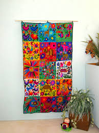 HAND EMBROIDERED MEXICAN Wall Hanging - Mexican folk art at its best -  Vintage