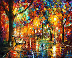 colorful night palette knife oil painting on canvas by leonid afremov size 40