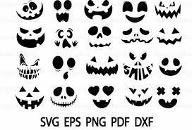 Vectors Silhouettes 20 Pumpkin Face Svg Cut Files Vectors Silhouettes Png Etsy