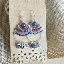 purple beaded hoop earrings silver wire wrapped earrings bea