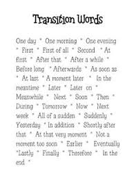 how to write a personal narrative essay for th th grade oc  transition words for narrative writing are different than those used for expository writing i would do a mini lesson on narrative transition words
