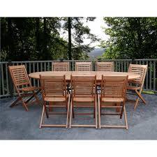 ia milano grand 9 piece extendable fsc eucalyptus wood patio dining set
