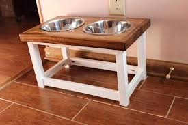 diy dog food stand elevated feeder feeding station with 2 bowls for dog food