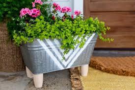 galvanized tub into a planter