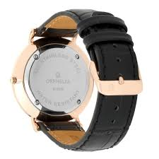 orphelia men s analogue watch wdoor055 orphelia mens watch rose gold black leather band