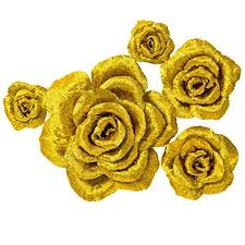 Paper Flower Archway 5 Large Crepe Paper Flowers Handcrafted Flowers Nursery Wall Metallic Gold Rose Flower For Wedding Backdrop Gold Bachelorette Baby Shower Photo