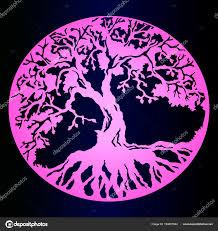 Růžový Gradient Skica Tetování Strom života Tmavém Pozadí Přechodu
