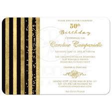 50th Birthday Invitation Black White Gold Stripes Faux Glitter