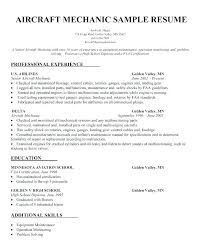 Resume Aircraft Mechanic Sheet Metal Mechanic Resume Aircraft ...