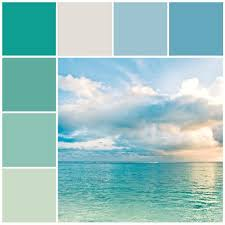 Aqua Blue Coastal Color Scheme / Beach Color Palette / Ocean Decorating  Tips & Ideas
