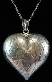 sterling silver large puffy heart pendant necklace