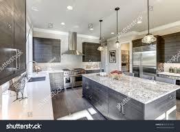 Modern Gray Kitchen Features Dark Gray Stock Photo Edit Now 557517151