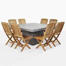 Outdoor Dining Set Square Concrete Table With 8 Chairs Teak