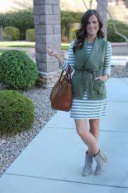 grey and ivory striped dress olive green utility vest grey booties