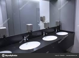 Public bathroom mirror Oversized Bathroom Modern Sinks With Mirror In Public Toilet Stock Photo Depositphotos Modern Sinks With Mirror In Public Toilet Stock Photo Belchonock