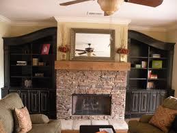 living room built bookshelf stone