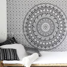 white black bohemian elephant mandala hippie boho wall tapestry small and large