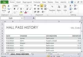 Student Hall Pass Log Template For Excel