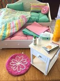 American Girl Doll Bedroom Set Up White Trundle Bed And Night Stand ...